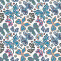 Beautiful background seamless pattern with flying colorful butterflies over white.Trendy wallpaper. Vector illustration Royalty Free Stock Photo