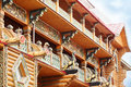 Beautiful balconies of large wooden house Royalty Free Stock Photo