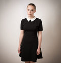 Beautiful Bald Shaven Young Teenage Girl In Black Dress Royalty Free Stock Photo