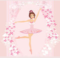 Beautiful ballerina abstract card with butterflies and pink ornaments Stock Photo