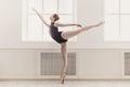 Beautiful ballerina in arabesque ballet position Royalty Free Stock Photo