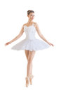 Beautiful ballerina in classical tutu on a white background Stock Photos