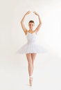 Beautiful ballerina in classical tutu on a white background Stock Images