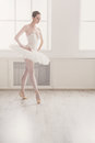 Beautiful ballerina dance in ballet position Royalty Free Stock Photo