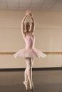 Beautiful ballerina dancing en pointe in the dance studio Royalty Free Stock Images