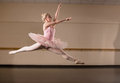 Beautiful ballerina dancing in pink tutu the dance studio Royalty Free Stock Images