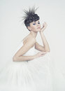 Beautiful ballerina portrait of elegant on white background Royalty Free Stock Photo