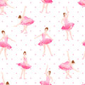 Beautiful ballerinas dance on polka dot background seamless vect Royalty Free Stock Photo