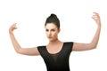 Beautiful ballet dancer modern style posing on studio background Royalty Free Stock Photo