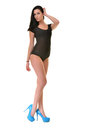 Beautiful ballet dancer modern style posing on studio background Royalty Free Stock Image