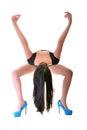 Beautiful ballet dancer modern style posing on studio background Royalty Free Stock Photos
