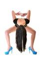 Beautiful ballet dancer modern style posing on studio background Stock Photos