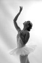 Beautiful ballet dancer reaching up in a tutu with an expressive pose Royalty Free Stock Images