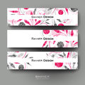 Beautiful banner vector template with floral ornament background Royalty Free Stock Photo