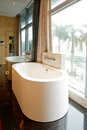Beautiful bathroom interior in new luxury home panorama photo Stock Photos