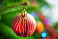 Beautiful bauble on christmas tree red Stock Photos