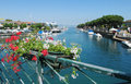 Beautiful bay, boats on the shore Royalty Free Stock Photo