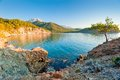 Beautiful bay with clear water a and mountains Royalty Free Stock Image