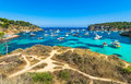 Beautiful bay with many boats at Portals Vells Majorca Spain Mediterranean Sea Royalty Free Stock Photo