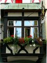 Beautiful bay window in truss façade Royalty Free Stock Photo