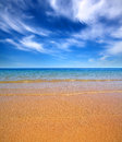Beautiful beach landscape with gold sand and sea Stock Photo