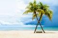 Beautiful beach with palms Royalty Free Stock Photo