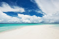 Beautiful beach with sandspit at maldives island Stock Photos