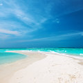 Beautiful beach with sandspit at maldives island Royalty Free Stock Photo