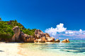 Beautiful beach at seychelles la digue anse source d argent Royalty Free Stock Images