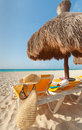 Beautiful beach with vacations accessories Royalty Free Stock Photography