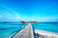 Beautiful beach with water bungalows at maldives Royalty Free Stock Image