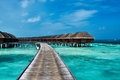Beautiful beach with water bungalows at maldives Stock Images
