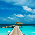 Beautiful beach with water bungalows at maldives Stock Photography