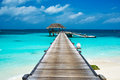 Beautiful beach with water bungalows at maldives Royalty Free Stock Photos