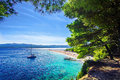 Beautiful beach Zlatni Rat or Golden Cape on island Brac in Croatia Royalty Free Stock Photo