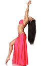 Beautiful belly dancer woman exotic young attractive on white background Royalty Free Stock Photography