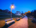 Beautiful benches with street lamp at night in Germany Royalty Free Stock Photo