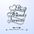 Beautiful best friends forever for happy valentine s day stylish text design Royalty Free Stock Image