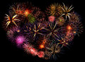Beautiful big firework heart Stock Photography
