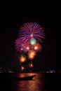 Beautiful Big Fireworks On The Beach Stock Photography
