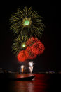 Beautiful big fireworks beach thailand Royalty Free Stock Image