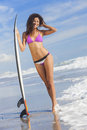 Beautiful Bikini Woman Girl Surfer & Surfboard Beach Royalty Free Stock Photo