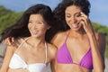 Beautiful Bikini Women At Beach Asian & Hispanic Royalty Free Stock Photo