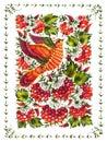 Beautiful bird hand drawn illustration in ukrainian folk style Stock Photos