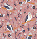 Beautiful birds and flower berries pattern vector seamless Stock Photos