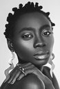 Beautiful black girl with big earrings Royalty Free Stock Photo