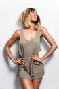 Beautiful black model posing in tanktop young Stock Photos
