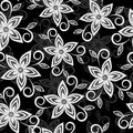 black and white floral background. lace flowers embroidered cutwork Royalty Free Stock Photo