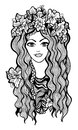 Beautiful black and white girl with flower crown drawing vector illustration Stock Images
