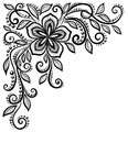 Beautiful black and white lace flower in the corne corner with space for your text greetings many similarities profile of Stock Photos